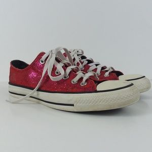Converse hot pink glitter All Stars size 8